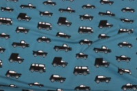 Petrol cotton-jersey with black cars