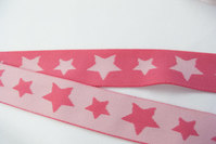 Pink soft elastic with stars 3cm