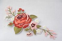 Rose embroidery red/light pink 15x6cm