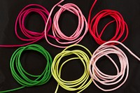 Sateen string in pink, light pink, red, green, lime