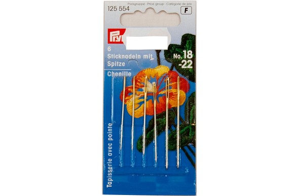Sewing needles with point, 6 pcs, no. 18-22
