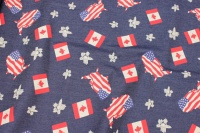Stretch-denim with USA and Canada motifs