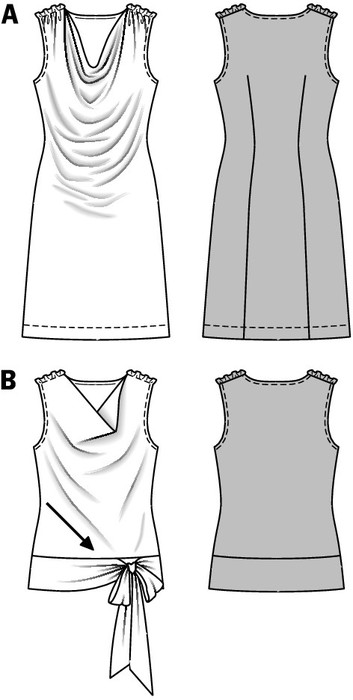 Sleeveless jersey dress with generous waterfall-neck. The bias cut shirt is made of woven fabric, has got the same seam lines, and is held with waistband and tie bands at the hips.