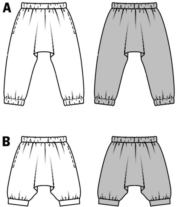 Super cushy Sarouel pants in varying lengths, with elastic casing in the waist and, as for view A, at the ankles. B with hem band under the knee. Hip pieces of fashion for girls. Quick and easy to sew.