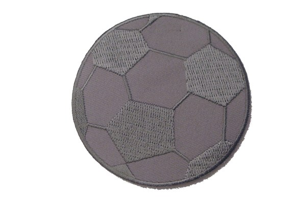Dark grey soccer ball patch, diameter 7 cm