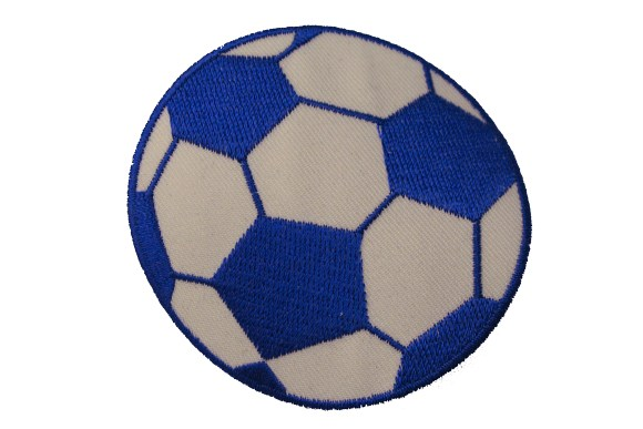 Blue soccer ball patch, diameter 7 cm