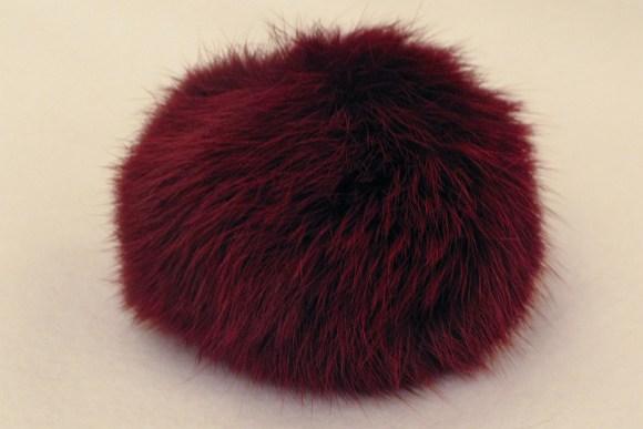 Fur pompon, burgundy