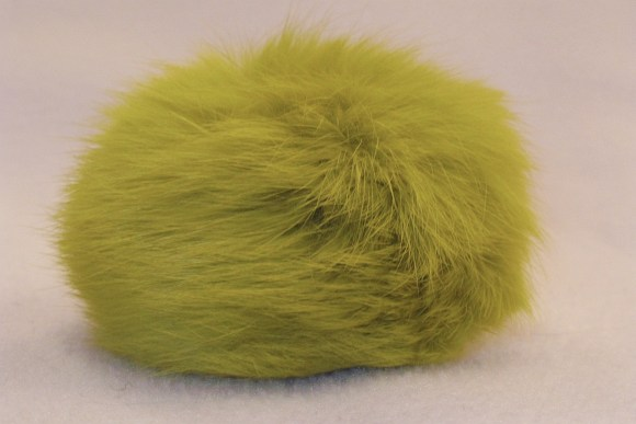 Fur pompon, lime-color, ø 8 cm