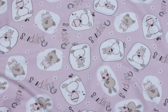 Delicate soft red cotton-jersey with dogs