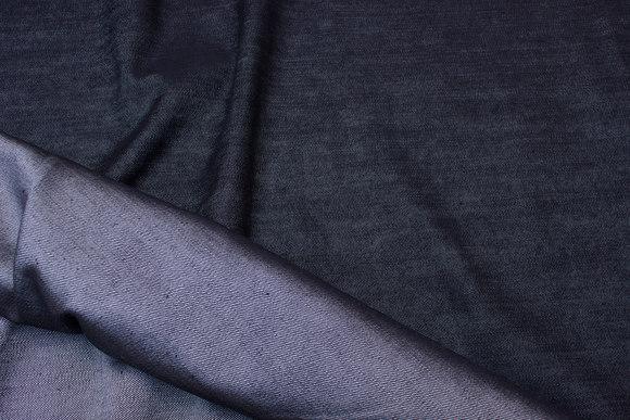 Black denim, lightweight shiny surface