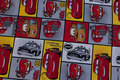 Patchwork-cotton with cars motifs.