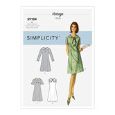Vintage Dresses With Sleeve and Neckline Variation. Simplicity 9104.
