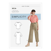 Dress, Tops With Sleeve Variation and Pants With Tie Belt. Simplicity 9116.
