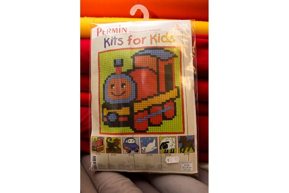 Childrens embroidery with train