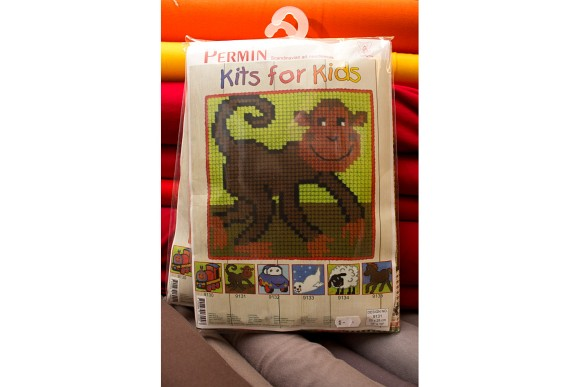 Childrens embroidery with monkey