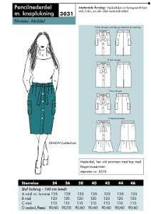 Onion pattern: Pencil skirt with button closure