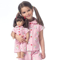 Butterick 6123. Girls and dolls robe, Belt, Top and Pants.
