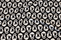 Black, lightweight sweatshirt fabric with white sheep