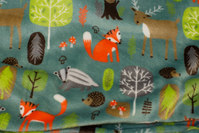 Dusty-green supersoft microfleece with forest-animals