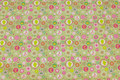 Spring green cotton-jersey with small pattern in pink and soft red
