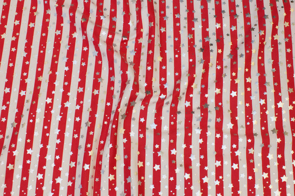 Across-striped cotton-jersey in red and white with silver stars