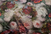Woven velvet with flowers in beautiful dusty nuances