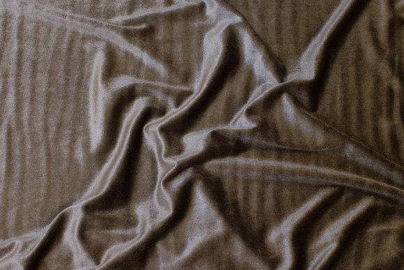 Silky stretch-velvet in dark sand-color