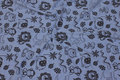 Speckled light blue cotton-jersey with grey animal motifs