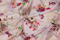 Delicate soft red stretch-satin with fine flowers