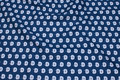 Navy blue cotton with sand-colored 2 cm apples