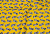 Yellow, woven cotton with grey pineapple