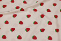 White cotton-poplin with red strawberries