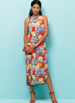 Very loose fitting dress has neckline and length variations. B, C: Shaped hemline.
