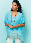 Very loose fitting tops, tunic, and caftan have neckline and length variations. B: Self belt. C: Shaped hemline. C, D: Yoke with purchased ties, gathers.