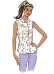 Loose fitting button front tops have shaped hemline and collar and sleeve variations. B: Boweighte. B, C: Pocket.