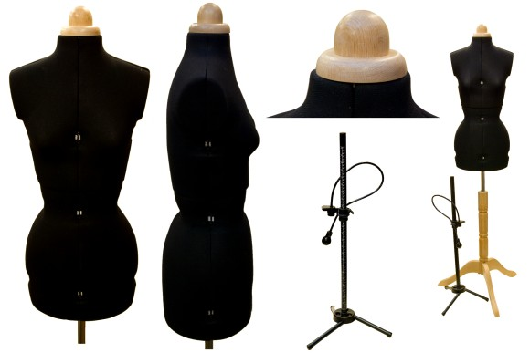 Lady Valet in black, 8 parts, with wood features