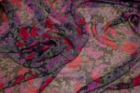 Silk-chiffon with flower pattern in purple, red and pink