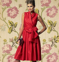 Dress with wrap and big waist tie. Butterick 5850.