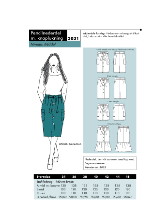 Pencil skirt with button closure