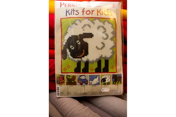 Childrens embroidery with sheep