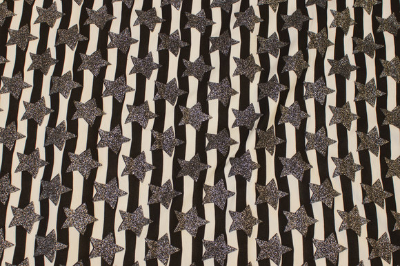 Across-striped cotton-jersey in black and white with silver stars