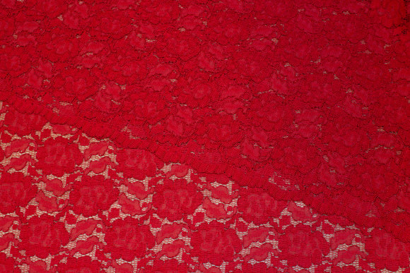 Beautiful, clear red dress-lace-fabric with scallop edges
