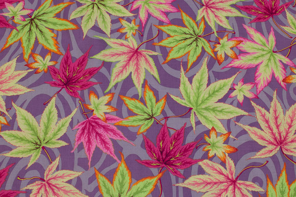 Beautiful dusty-purple patchwork-cotton with leaves in pink and lime
