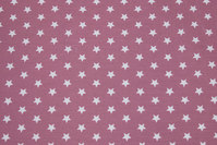 Dark old rose, woven cotton with white 1 cm stars