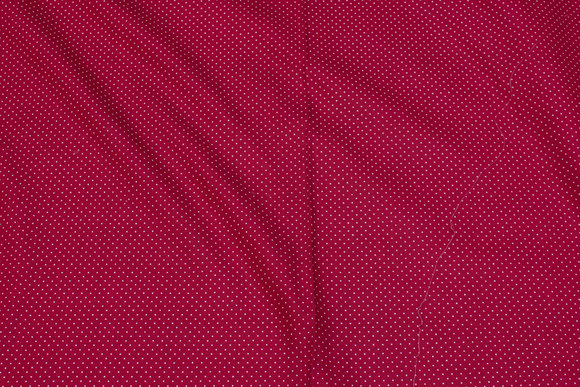 Dark red patchwork-cotton with white 1 mm mini-dots