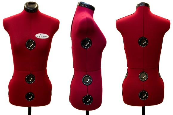 Diana Mannequin, 8 pieces, dark red, small and medium