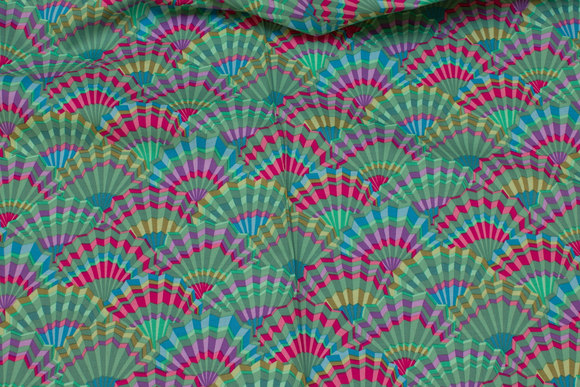 Green coffee patchwork-cotton with fan-pattern