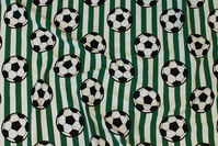 Green and white across-striped cotton-jersey with soccer balls