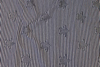 Narrow-striped cotton-jersey in navy and white with silver stars