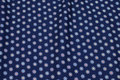 Navy, woven cotton with small 15 mm star-flower.